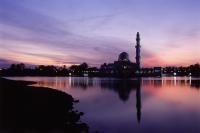 Malaysia, Kuala Terengganu, Twilight at Tengku Zaharah Mosque. - Steve Raymer