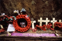Thailand, Kanchanaburi, Hellfire Pass, An impromptu memorial sits along Hellfire Pass in memory of Allied POWs. - Steve Raymer