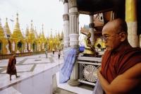 Myanmar (Burma), Yangon (Rangoon), Monks at the Shwedagon Pagoda. - Steve Raymer