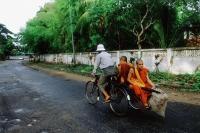 Myanmar (Burma), Yangon (Rangoon), Monks relying on bicycles for transportation. - Steve Raymer
