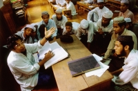 Myanmar (Burma), Yangon (Rangoon), Students and members of the Muslim community listening to a teacher. - Steve Raymer