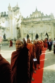 Myanmar (Burma), Buddhist monks in single file - John McDermott