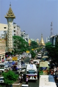 Myanmar (Burma), Yangon (Rangoon), Heavy traffic with Sule Pagoda in background - John McDermott