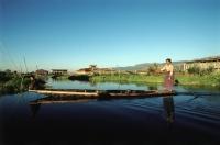 Myanmar (Burma), Woman rowing boat on Inle Lake - John McDermott