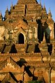 Myanmar (Burma), Bagan, Close up view of temples at Bagan from hot-air balloon - John McDermott