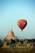 Myanmar (Burma), Bagan, View from hot-air balloon over the temples of Bagan - John McDermott