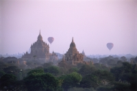 Myanmar (Burma), Bagan,  Hot-air balloons over the temples of Bagan - John McDermott