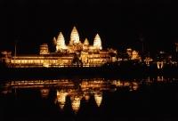 Cambodia, Siem Reap, Ancient Khmer temple Angkor Wat at night - John McDermott