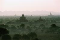 Myanmar (Burma), Bagan, Temples of Bagan shrouded by mist - John McDermott