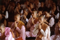 Myanmar (Burma), Yangon (Rangoon), A group of young Buddhist monks and other Buddhists meditating at a meditation center. - Steve Raymer