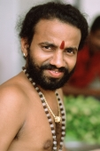 Singapore, Little India, Bearded Hindu devotee, portrait. - Steve Raymer