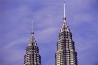 Malaysia, Kuala Lumpur, Twin tops of Petronas Towers. - Steve Raymer