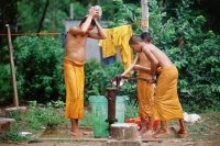 Vietnam, Mekong Delta region, Bac Lieu, Buddhist monks bathing at water pump. - Steve Raymer