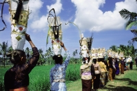 Indonesia, Bali, Women carrying offerings on their heads going to temple festival. - Jill Gocher