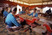 Indonesia, Yogyakarta, Sekaten Festival, Gamelan players at Sultan's mosque (Mesjid Agung). - Jill Gocher