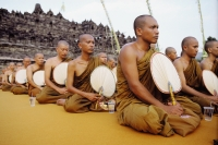 Indonesia, Java Buddhist monks at Vesak ceremony. - Jill Gocher