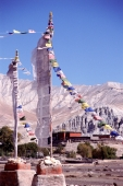 Nepal, Mustang, Prayer flags mark entrance to Tsarang monastery. - Jill Gocher