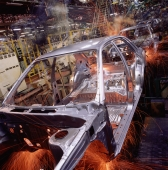 Malaysia, Kuala Lumpur, Proton auto factory, Proton cars on automated assembly line. - Alex Mares-Manton