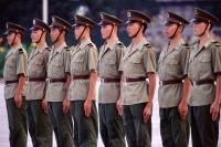 Chinese soldiers on guard duty, standing in a row - Alex Microstock02