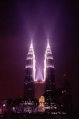 Malaysia, Kuala Lumpur, Petronas Towers at night. - Alex Mares-Manton