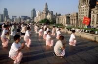 China, Shanghai, people exercising on the Bund - Alex Mares-Manton