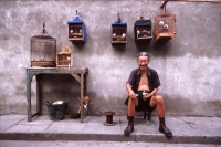 China, Shanghai, old man sitting with bird cages - Alex Mares-Manton