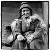 India, Ladakh, Leh, Portrait of elderly lady sitting. - Mary Grace Long