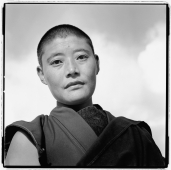 India, near Dharamsala, Dolma Ling Nunnery, Portrait of Tibetan nun. - Mary Grace Long