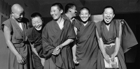 India, near Dharamsala, Dolma Ling Nunnery, Portrait of Tibetan nuns smiling and laughing. - Mary Grace Long