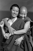 India, near Dharamsala, Dolma Ling Nunnery, Portrait of Tibetan nuns smiling. - Mary Grace Long