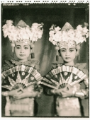Indonesia, Bali, Amlapura, Two Legong dancers in full costumes holding fans. - Martin Westlake