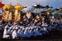 Indonesia, Bali, Saba Bai, Priests at Melasti ceremony on beach. (grainy) - Martin Westlake