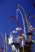 Indonesia, Bali, Besakih Temple, Umbrellas and umbul-umbul at temple ceremony. (grainy) - Martin Westlake
