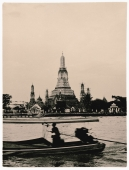 Thailand, Bangkok, Chao Phraya River, Long tail boat on river, Wat Arun Temple in background. (artistic grain) - Martin Westlake