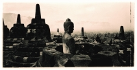 Indonesia, Java, Magelang, Stupas on Candi Borobudur. (artistic grain) - Martin Westlake
