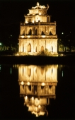 Vietnam, Hon Kiem Lake, Temple in the center of the lake at night. - John McDermott