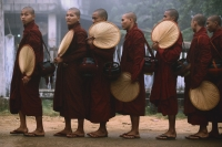 Myanmar (Burma), Bago, Buddhist monks in line to collect alms. - Martin Westlake