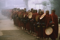 Myanmar (Burma), Bago, Buddhist monks with fans line up to collect alms. - Martin Westlake