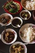 Myanmar (Burma), Kyaiktiyo, Burmese food selection at roadside food stall. - Martin Westlake