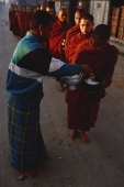Myanmar (Burma), Inle lake, Buddhist monks receiving alms. - Martin Westlake