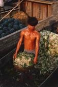 Vietnam, Vinh Long, Mekong Delta, Man unloading onions from boat. - Martin Westlake
