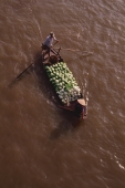 Vietnam, Can Tho, Hau river, Vegetable sellers passing under bridge, floating market. - Martin Westlake