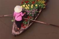 Vietnam, Can Tho, Hau river, Flower seller steering boat, floating market. - Martin Westlake