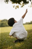 Young boy crouching on lawn, pointing up - Alex Microstock02