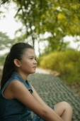 Young girl sitting down, profile - Alex Microstock02