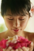 Portrait of a young woman, holding flowers - Alex Microstock02