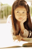 Young girl with hand on chin, looking away - Alex Microstock02