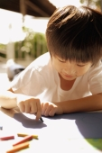 Young boy drawing with crayons - Alex Microstock02