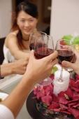 Friends raising wine glass, toasting across table - Alex Microstock02