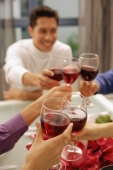 Friends toasting with wine glasses across dinner table - Alex Microstock02